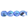 Fire Polished 7mm Transparent Sapphire Aurora Borealis